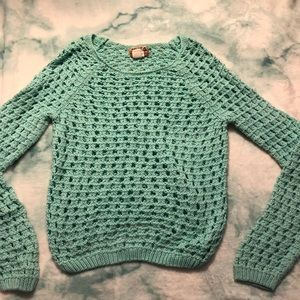 Teal cable knit sweater, size L but fit like a M/S